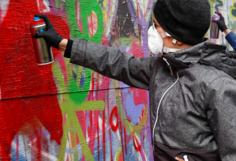 """Graffiti-Projekt """"Blick in die Zukunft – aktive Freizeitgestaltung am Senftenberger See"""""""